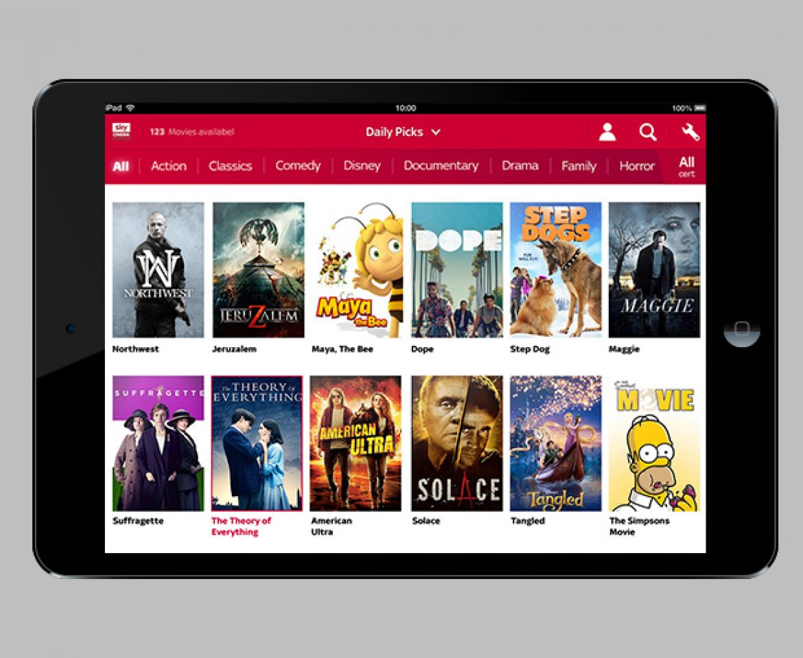 UI Design support for SKY Cinema app